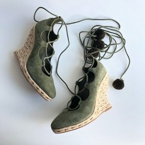 Tory Burch Heather Wedge Lace Up Espadrilles Green